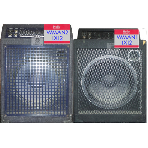 1X12 guitar speaker impulse response files (R) tribute to 1995 Pre-Fender® SWR® Workingman's 12 Combo™ 1 X 12 plus tweeter Guitar Amp Cabinet, which included the original 1X12 Celestion® K12T-200™ proprietary speaker and SWR® tweeter and 1X12 guitar speaker impulse response files (R) tribute to 2003 Fender®-era SWR® Workingman's 12 Combo™ 1 X 12 plus tweeter Guitar Amp Cabinet. which included the original 1X12 Fender® unlabelled proprietary speaker and SWR® tweeter