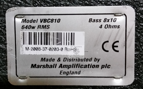 Fractal Audio & WAV format Impulse response (IR) files based upon 2008 Marshall 8X10 VBC Bass Cab for guitar and bass back plate