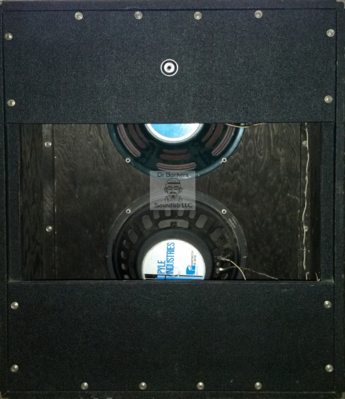 Back Cabinet View of Guitar and Bass Cab view of Impulse Response (IR) Files in WAV and Fractal Audio file fomrats based upon Pre-Fender® 1969 or 1970 Sunn® Solarus™ 2X12 Bass and Guitar Amp Cab, this cabinet is voiced with the a late 1970's Pyle® Pyle Driver™ and a 1990's Jensen® Blue Label Special Design JCH 12/70™ 8 ohm 70w 12 inch speakers.
