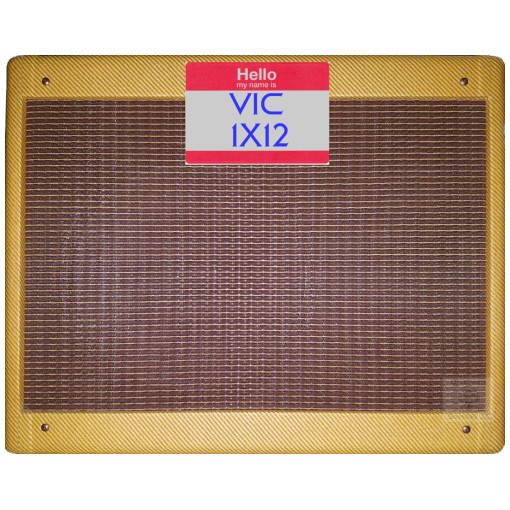 Front view of Dr Bonkers Guitar Cab-Oddities™ Volume 23: VIC 1X12 Guitar Cab IR (impulse response) pack based upon Victoria Amps® 5112™ 1X12 Guitar Combo, this cabinet is voiced with a Weber ® Classic Alnico 12A125-A™ 12 inch 8 ohm 30w speaker. Available in Fractal Audio and WAV file formats.