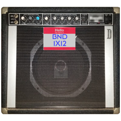 Front view of an early 1980s Peavey Electronics Corp® Solo™ Series Bandit™ 65 1X12 Guitar Combo voiced with an original Peavey ® Scorpion™ 12 inch 8 ohm 200w speaker. featured in Dr Bonkers Guitar Cab-Oddities™ Volume 24: BND 1X12 Cab Pack. Available in Fractal Audio and WAV file formats.
