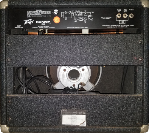 Rear view of an early 1980s Peavey Electronics Corp® Solo™ Series Bandit™ 65 1X12 Guitar Combo voiced with an original Peavey ® Scorpion™ 12 inch 8 ohm 200w speaker. featured in Dr Bonkers Guitar Cab-Oddities™ Volume 24: BND 1X12 Cab Pack. Available in Fractal Audio and WAV file formats.