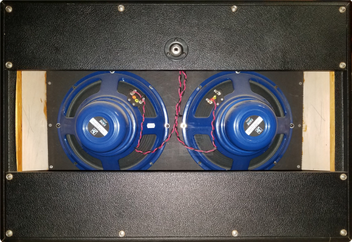 Rear cab detail view of 2X12 GTRN Guitar Cab IR (impulse response) pack based upon 2001 Guytron® GT212-OB™ 2x12 120w Guitar Cab with 2 AlNiCo magnet Fane® Alnico-12™ 12 inch 8 Ohm speaker impulse response (IR) files. Impulse response (IR) cab files available in Fractal Audio file and various WAV file formats.