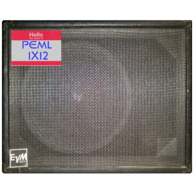 Front Cab detail view of 1X12 PEML Guitar Cab IR (impulse response) pack based upon 1980s Pearce Amplifiers® 1X12 Bass or Guitar Extension Cab with an original Electro-Voice ® EVM-12L Series II™ 12 inch 8 ohm 200w guitar speaker impulse response (IR) files. Impulse response (IR) cab files available in Fractal Audio file and various WAV file formats.